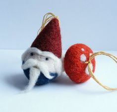 Needle felted Gnome and Mushroom Ornament Set by 13Chestnuts, $20.00