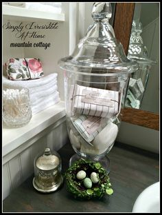 A Pottery Barn idea but the jar came from TJ Maxx. I love a bargain.
