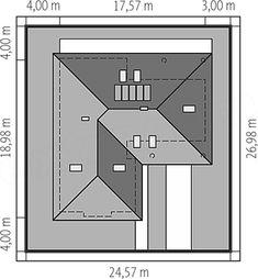 Usytuowanie projektu Alan IV multi-comfort na działce Floor Plans, Arquitetura, Houses, Floor Plan Drawing, House Floor Plans