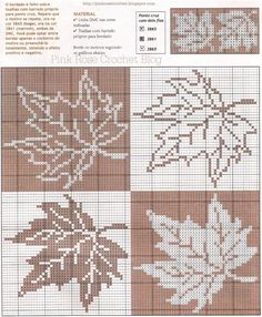 Maple Leaf Pattern ~ Counted cross stitch, or filet crochet. Fall Cross Stitch, Cross Stitch Pillow, Cross Stitch Borders, Cross Stitch Flowers, Cross Stitch Designs, Cross Stitching, Cross Stitch Embroidery, Embroidery Patterns, Cross Stitch Patterns