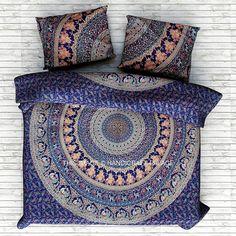 Elephant Mandala Boho Comforter Cover Bedding Throw Indian Handmade Duvet Cover #HandicraftPalace #Traditional #DoonaCoverDuvetCoverQuiltCover