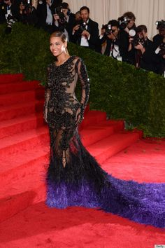 Beyoce Met Gala 2012.  The ultra see-through black lace Givenchy design was fabulous! Super sexy yet still sophisticated.