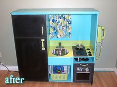 old Entertainment center becomes darling kids kitchen! even the boys love the play kitchens, this is such a good doi it yourself idea that is soooooo easy. Repurposed Furniture, Kids Furniture, Refurbished Furniture, Painted Furniture, Diy Play Kitchen, Play Kitchens, Kid Kitchen, Kitchen Ideas, Aqua Kitchen