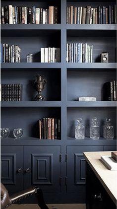 Perfect blue paint for bookshelves