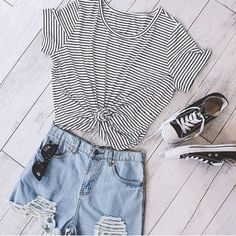 Brief Scoop Neck Striped Short Sleeve T-Shirt For Women