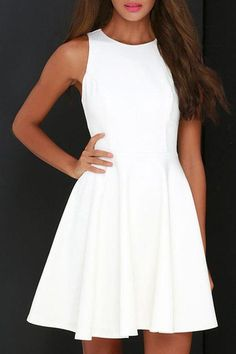 simple white a-line dress