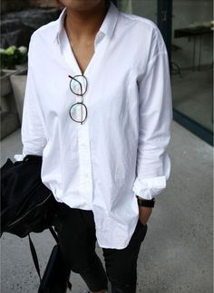 White Shirt | Oversized | Crisp | Neutral | Minimal | Style | Outfit | Street Style | HarperandHarley