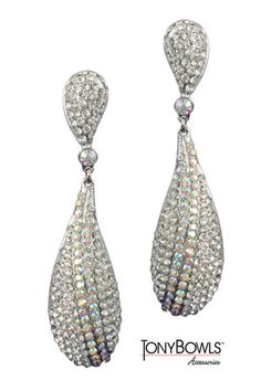 """4"""" AB/Silver Pave Elongated Oval Clip-on"""