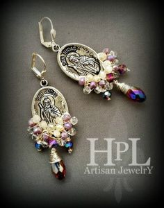 pewter st jude medallions Cluster pink , white and clear crystals faceted iridescent drops plated silver wire  and earwires.