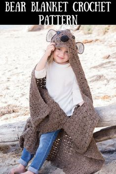Crochet - Your little one will love to cuddle in this delightful hooded bear blanket! It is even a good spark for their imaginations! Crochet with King Cole Fashion Aran yarn in various colors using U. sizes and crochet hooks. Finished size is x - Scrap Crochet, Knit And Crochet Now, Crochet Bear, Crochet For Kids, Crochet Dolls, Crochet Animals, Baby Afghan Crochet Patterns, Baby Patterns, Blanket Crochet