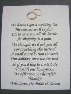 5 x wedding poem cards for invitations money cash gift honeymoon 40 wedding poems asking for money gifts not presents not to send with invitations but to place onto our website stopboris Gallery
