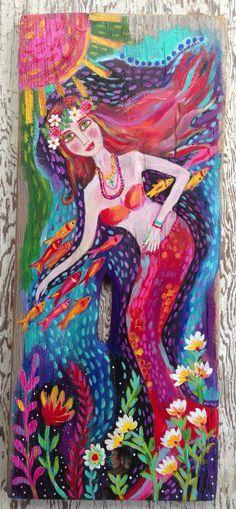 Mermaid Art Original Art Beach House Decor on Etsy, $160.00