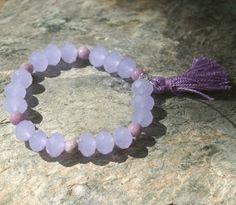 Yoga Bracelet With Lavender Crystal and Jasper Beads - Yoga, Meditation, Ohm, Good Luck. $18.00, via Etsy.