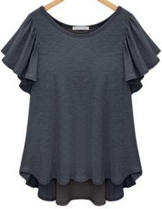 Grey Short Sleeve Ruffle Split Chiffon Back Panel T-shirt