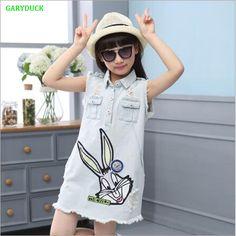 702880eec82e GARYDUCK 2017 Summer Fashion Cartoon rabbit Cotton Denim Girls Dress Girl  clothes Baby girls dress Children casual clothes Holes-in Dresses from  Mother ...