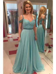 Off Shoulder Straps Chiffon Floor Length Prom Dress Evening Dresses (ED1344) - Long Prom Dresses - PROM DRESSES