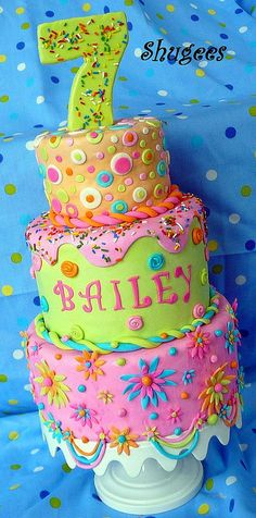 another awesome birthday cake idea. too much work for them not to enjoy how much work it took and to enjoy the cake. Pretty Cakes, Cute Cakes, Fancy Cakes, Beautiful Cakes, Amazing Cakes, Cool Birthday Cakes, Birthday Cake Girls, Birthday Fun, Colorful Birthday