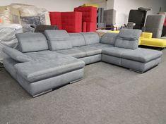 340.000.- Santa Fee U-form ülőgarnitúra: Modernülőgarnitúra változtathatóülésmélységgel (háttámla funkció), fokozatosan állítható fejtámlákkal és karfával, szürke szövet kárpittal. Ez az extra akciós termék azonnal elvihető, kiállítási darab. Santa Fee, Lucca, Couch, Modern, Furniture, Home Decor, Settee, Trendy Tree, Decoration Home