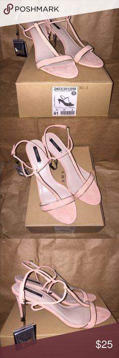 """Zara Basic Heel Zara Basic Heel NWT Color: Blush Pink Size: 10; Zara: 41 Heel Height: 3.75"""" Composition: Upper-Textile; Sole-Manmade *Shoe box included. Extra heel tips included. Perfect for spring. Zara Shoes Heels"""