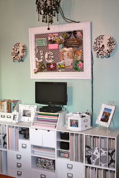 craftroom-  cover magazine holders w/coordinating fabric or papers.  large white frame board.