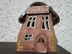 Keramický domeček na svíčku - VÍTEJTE