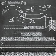 Chalk Banners Clip Art and FREE Chalkboard Backgrounds - Buy 2, Get 1 Free - Overlays for Scrapbookers and Photographers