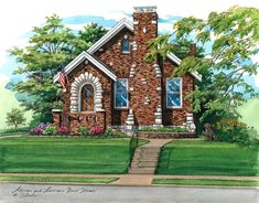 """This 9"""" x 12"""" pen and ink with watercolor custom house portrait depicts a brick home in St. Louis with lots of charming character and was a gift to the young couple who lives here. If you have a special home and would like to see it beautifully portrayed, call 314-892-9221 to order. Charmed Characters, Watercolor Portraits, St Louis, Custom Homes, Missouri, Brick, New Homes, Couple, House Styles"""