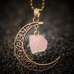 "Moon & Rose Quartz Pendant Moon pendant with natural Rose Quartz dangle , bronze finish. Pendant size: 1.5"" x 1.5"" Jewelry Necklaces"