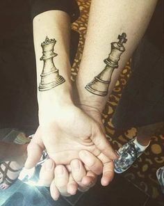 King Queen Chess Pieces Tattoos for Couples