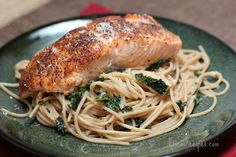 Seared Salmon over Whole Wheat Pasta with Kale, Garlic, and Pine Nuts | EricasRecipes.com