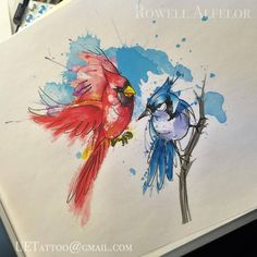 Abstract watercolor cardinal and bluejay tattoo by rowell alfelor. Watercolor Tattoo Sleeve, Abstract Watercolor, Tattoo Abstract, Body Art Tattoos, Print Tattoos, Sleeve Tattoos, Tattoo Sketches, Tattoo Drawings, Blue Jay Tattoo