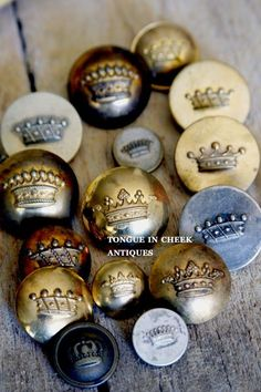 Crown buttons ~ I need these, I would love them on dining room slipcovers.