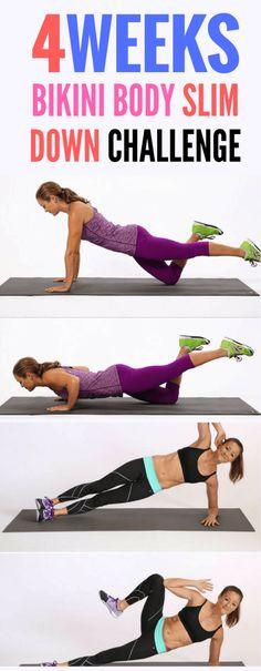 Bikini body slim down Workout List, Workout Guide, Summer Body Workouts, Gym Workouts, Body Challenge, Slim Body, Hiit, Cardio, How To Slim Down