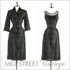 1940s 40s Vintage Dress --- Black Floral Print Wiggle Illusion Dress Nipped Waist Jacket Matching Belt XS S  $225.00 For the super skinny gal with a 25 inch waist!