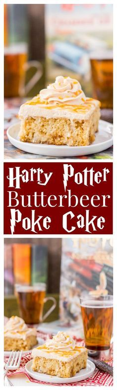 This Harry Potter Butterbeer Poke Cake is a magical, sweet, and comforting dessert every witch, wizard, and muggle will love! 13 Desserts, Birthday Desserts, Delicious Desserts, Yummy Food, Poke Cake Recipes, Poke Cakes, Dessert Recipes, Layer Cakes, Weight Watcher Desserts