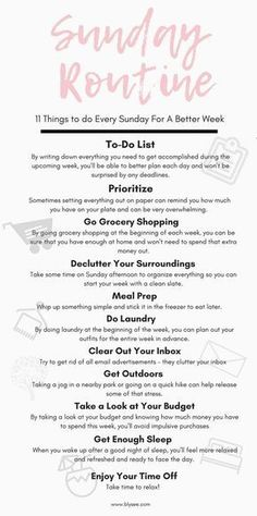 Sunday Self-Care Routine For A Better Week Sunday Routine, Bed Time Routine, Healthy Morning Routine, Morning Routines, Daily Routines, Good Week, Startup, Time Management Tips, Good Habits