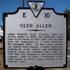 henrico county virginia history   Glen Allen Marker Photo, Click for full size