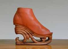 Wave  Hand Carved Wood Platform Wedge Heel by Fashion4Freedom