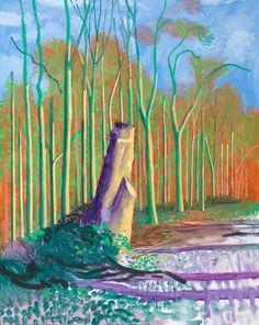 Dit schilderij heeft David Hockney gemaakt. Hij heeft hier een bos geschilderd waar een afgezaagde boom op staat. Hij heeft de kleuren rood, oranje, bruin en groen gebruikt voor het bos. Hij heeft voor de afgezaagde boom bruin en groen gebruikt. De bomen staan allemaal een beetje scheef zoals het in het echt ook is.