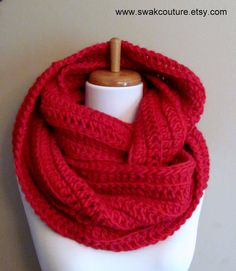 100% Wool Eternity Scarf Chunky Infinity Scarf Cherry Red or Choose Your Color. $74.00, via www.swakcouture.etsy.com