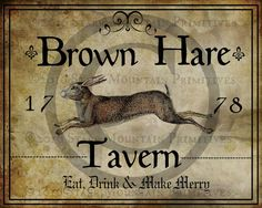 Primitive Colonial Brown Hare Tavern Inn Sign by Starrmtnprims