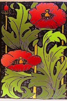 Art Deco rode klaprozen / red poppies.