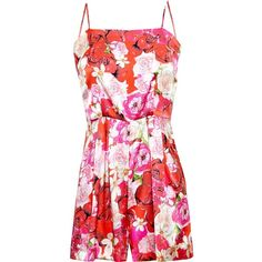 Isolda Floral Silk Playsuit ($435) ❤ liked on Polyvore featuring jumpsuits, rompers, dresses, jumpsuit, playsuits, romper, robes, red, silk romper and flower print romper