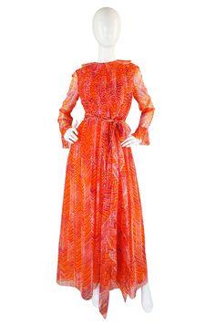 1960s Tangerine Chiffon Mollie Parnis