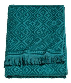 Check this out! Bath towel in cotton terry with a jacquard-weave pattern. Hanger on one short side and fringes on the ends. - Visit hm.com to see more.