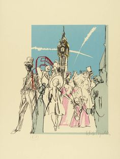 'Westminster', lithograph on paper by Feliks Topolski (London Suite, London Postcard, Postcard Book, British Traditions, Mural Art, Murals, National Portrait Gallery, Cool Posters, Westminster, Screen Printing