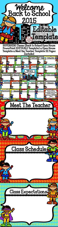 SUPERHERO Theme {Back to School Open House PowerPoint EDITABLE Template} | Open House Template | Meet the Teacher Template    This is an EASY to use Back to School SUPERHERO Theme Template to present all your important information to your class and parents. This template is created in powerpoint and it is 100% EDITABLE for you to plug in your classroom information! It is 32 pages of templates, you use what you need to meet your class needs. You can custom create your own with the blank…
