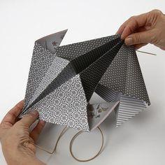 A rectangular Paper Diamond made from Vivi Gade Vellum Paper - Creative ideas Vellum Paper, Diy Paper, Paper Diamond, Origami Design, Design Seeds, One Design, Craft Items, Wooden Beads, Diys
