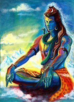 Impression sur toile 'Majestueux Shiva en méditation' par A little more Whirl Shiva Shakti, Shiva Hindu, Hindu Deities, Hindu Art, Arte Shiva, Shiva Art, Krishna Art, Om Namah Shivaya, Lord Shiva Pics
