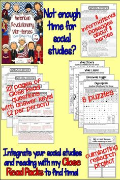 Short on time? Integrate reading and social studies with this line of products! My Close Read Packs will help you find time the day. Included are 11 informational passages about 11 heroes, all in the 4th grade band. 2 pages of Close Read questions PER person with answer keys! That's 22 pages of questions! You will also get 8 puzzles and one culminating project. Also available for grades 3 and 5. $